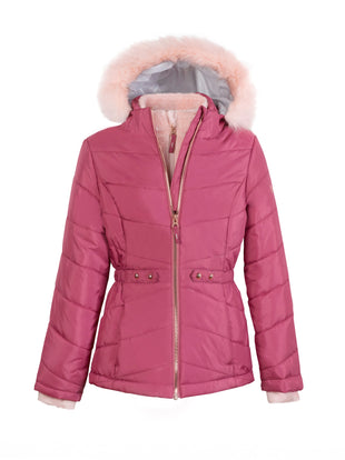 Free Country Girls' Fauna Quilted Bib Puffer Jacket - Faded Rose - S