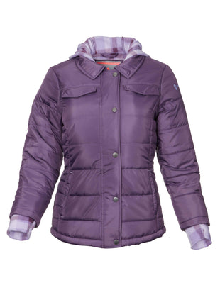 Free Country Little Girls' Frontier Puffer Shirt Jacket - Dusty Grape - S