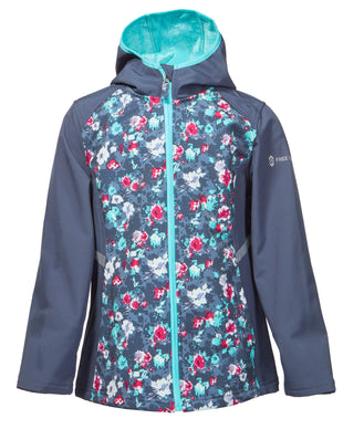 Free Country Girls' Glider Softshell - Grey Floral - 7-8