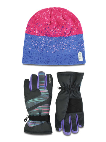 Free Country Girls' Jacquard Knit Hat and Ski Glove Set - Pink - 7-16