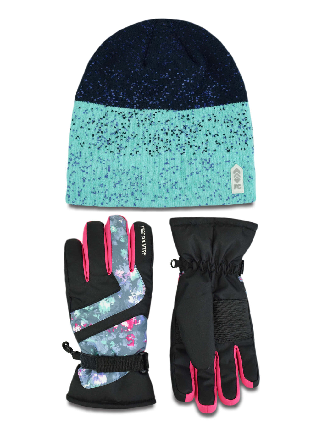 457821d9029 Girls  Jacquard Knit Hat and Ski Glove Set – Free Country
