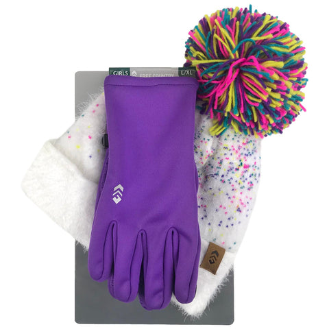 Free Country Girl's Knit Beanie & 2-Way Stretch Glove Set - Purple - L/XL