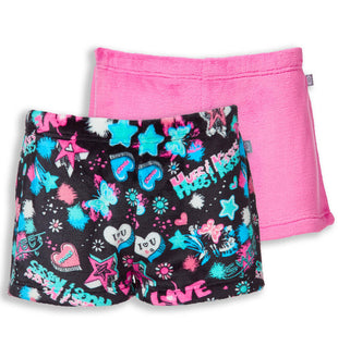 Free Country Girls' Lazy Day Shorts - 2-Pack - Black-Hot Pink - XS