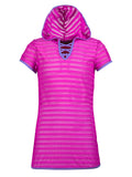 Free Country Girls' Mesh Hooded Tie Knot Cover Up - Raspberry