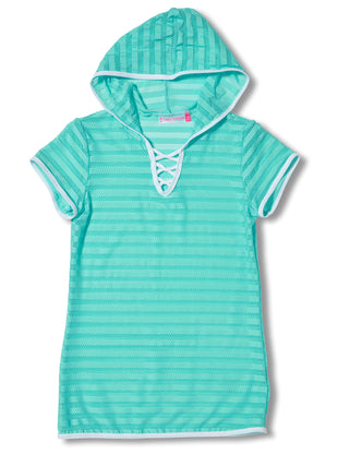 Free Country Girls' Mesh Hooded Tie Knot Cover Up - Spearmint - S