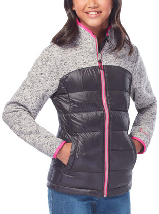 Free Country Girls' Proactive Down Hybrid Fleece Jacket - Black - XS