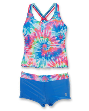 Free Country Girls' Rainbow Tie Knotted Tankini with Boy Shorts - Multi-Peri Mist - 7