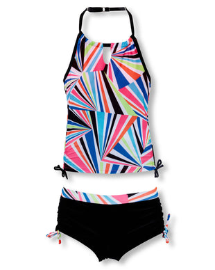 Free Country Girls' Rainbow Tie Signature Halter Tankini with Boy Shorts - Bubblegum-Black - 7