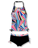 Girls' Rainbow Tie Signature Halter Tankini with Boy Shorts