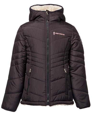 Free Country Girls' Sherpa Reversible Puffer - Black - 7-8
