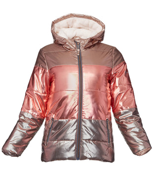 Free Country Girls' Shimmer Metallic Puffer - Rose Gold - S