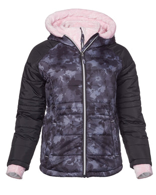 Free Country Girls' Sleek Quilted Bib Puffer Jacket - Black - S