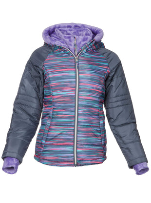 Free Country Girls' Sleek Quilted Bib Puffer Jacket - Pastel Multi - S