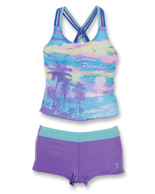 Free Country Girls' Summer Paradise Knotted Tankini with Boy Shorts - Purple - 7