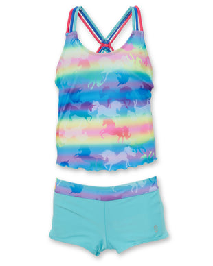 Free Country Girls' Unicorn Knotted Tankini with Boy Shorts - Multi-Pale Aruba - 7