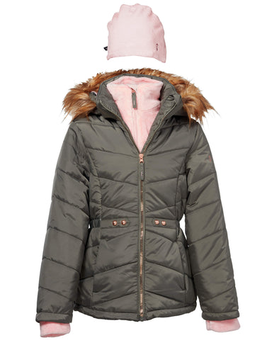Free Country Girls' Vestee Puffer with Hat - Sage City - 7-8