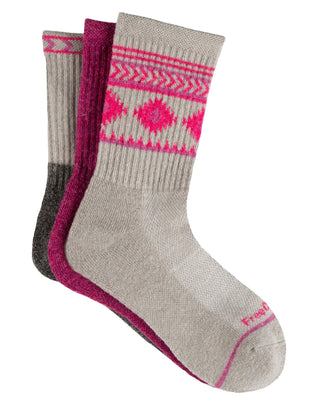 Free Country Girls' Wool-Blend Aztec Pop Crew Socks - Pink - S/M