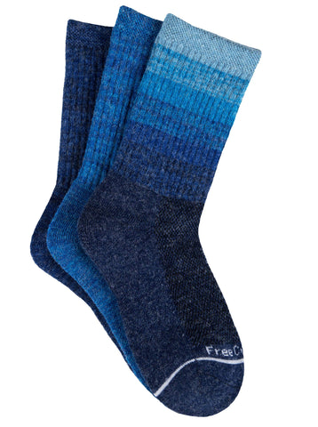 Free Country Girls' Wool-Blend Colorblock Ombre Crew Socks - Blue - S/M
