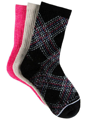 Free Country Girls' Wool-Blend Pretty Plaid Crew Socks - Black - S/M