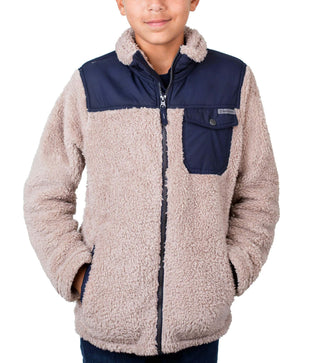Free Country Little Boys' Alpine Sherpa Fleece Jacket - Latte - S