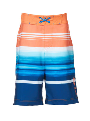 Free Country Little Boys' Cowabunga Surf Stripe Board Shorts - Orange Crush - 7