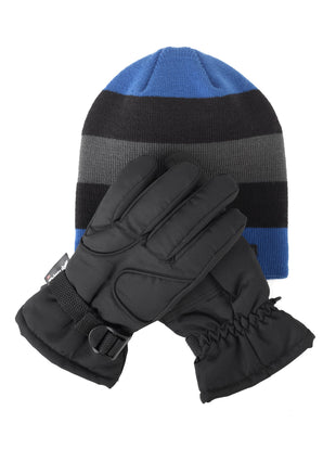 Free Country Little Boys Knit Hat and Ski Glove Set - 5-7 -