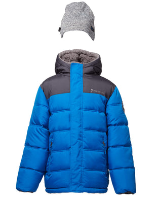 Free Country Little Boys' Protean Reversible Puffer Jacket with Hat - Blue - 4
