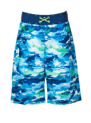 Free Country Little Boys' Shark Zone Board Shorts - Navy - 7