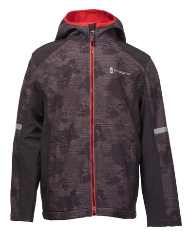 Free Country Little Boys' Trekker Softshell Jacket - Black Camo - 4