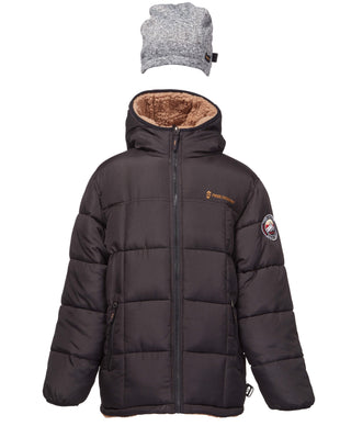 Free Country Little Boys' Variable Reversible Puffer Jacket with Hat - Black - 4