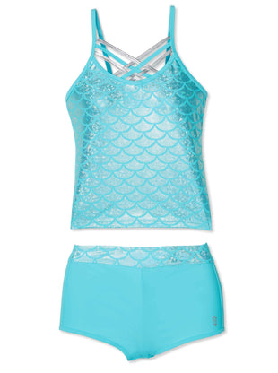 Free Country Little Girls' 2-Piece Shiny Seashell Criss Cross Tankini and Short Swim Set - Aquatopia - 4