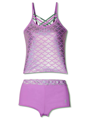 Free Country Little Girls' 2-Piece Shiny Seashell Criss Cross Tankini and Short Swim Set - Lilac - 4