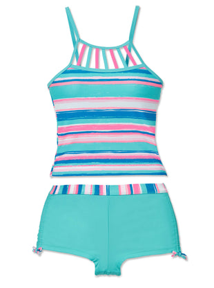 Free Country Little Girls' 2-Piece Shoreline Stripe Tankini and Short Swim Set - Aquatopia - 6X