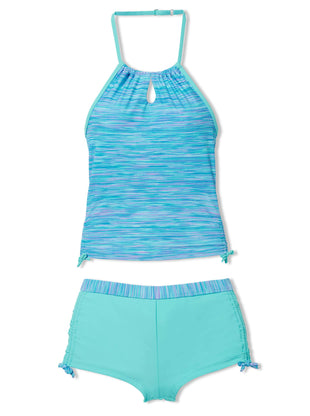 Free Country Little Girls' 2-Piece Space Dye Halter Tankini and Short Swim Set - Aquatopia - 4