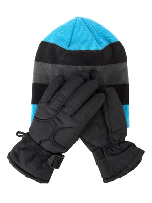 Free Country Little Girls Knit Hat and Ski Glove Set - Aqua - 4-6X