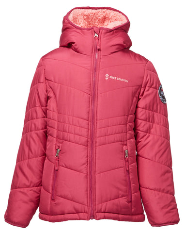 Free Country Little Girls' Sherpa Reversible Puffer - Rose - 4