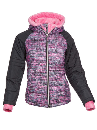 Free Country Little Girls' Sleek Quilted Bib Puffer Jacket - Strawberry - S