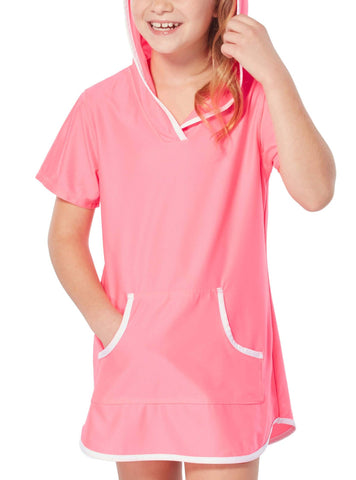 Free Country Little Girls' Sun Mesh Hooded Kangaroo Cover Up - Pink Blush - L