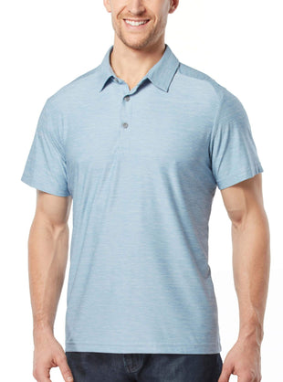 Free Country Men's Active Stretch Melange Polo Shirt - Sky Blue - S