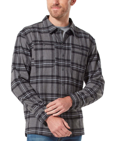 Free Country Men's Adirondack Fleece-Lined Flannel Shirt Jacket - Black Plaid - S