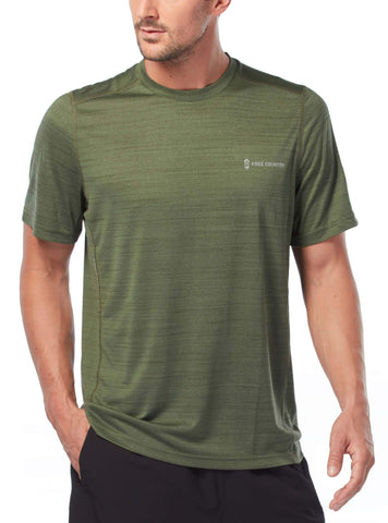 Free Country Men's Baselayer Short Sleeve Crew Neck Tee - Wilderness Green