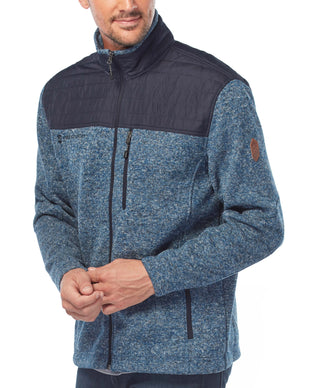 Free Country Men's Big and Tall Frore Sweater Knit Fleece Jacket - Newport Blue - 3X