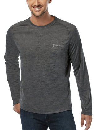 Free Country Men's Bird's Eye Melange Long Sleeve Crew Shirt - Charcoal - S