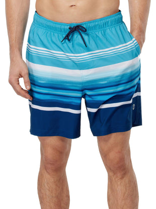 Free Country Men's Cowabunga Surf Stripe Board Short - Turquoise - S
