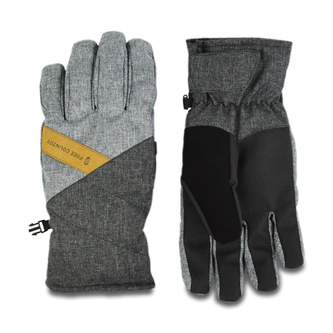 Free Country Men's Heather Color Block Ski Glove - Charcoal - L/XL