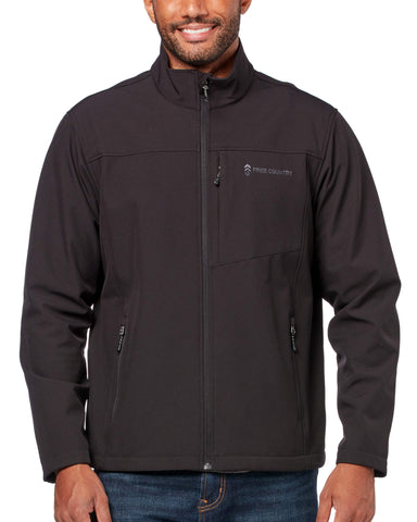 Free Country Men's Lightweight Dobby Softshell Jacket - Black - S