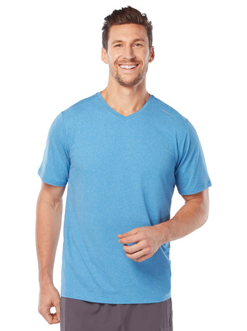 Free Country Men's Microtech Chill Cooling V-Neck Tee - Light Blue - S