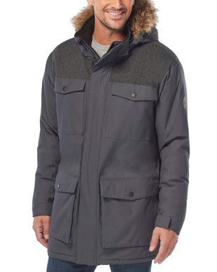 Free Country Men's Momentum Poly Canvas Parka Jacket - Charcoal - S