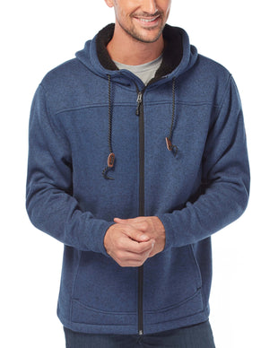 Free Country Men's Osprey Sweater Knit Fleece Jacket - Indigo - S
