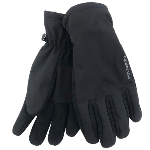 Free Country Men's Pierced Softshell/Fleece Glove - Black - L/XL